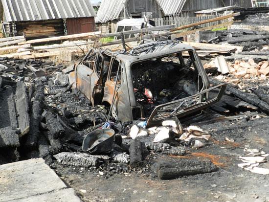 Пожар в поселке Маромица