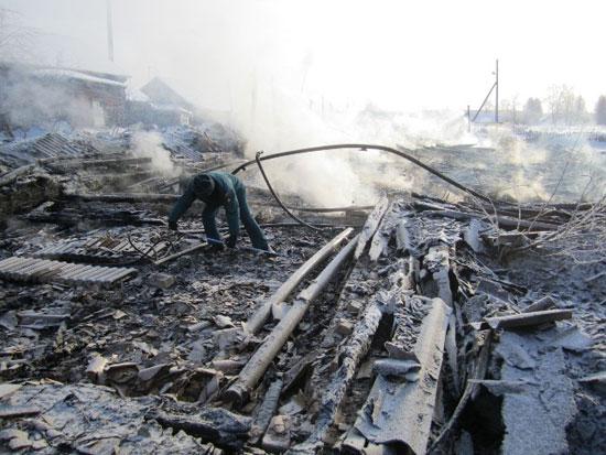 Пожар в поселке Альмеж