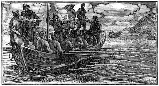 Судно и команда Ерофея Хабарова на реке Амур