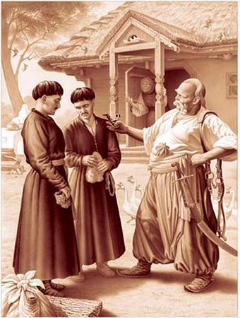 Иллюстрация к повести Н.В.Гоголя «Тарас Бульба» - Тарас Бульба и сыновья