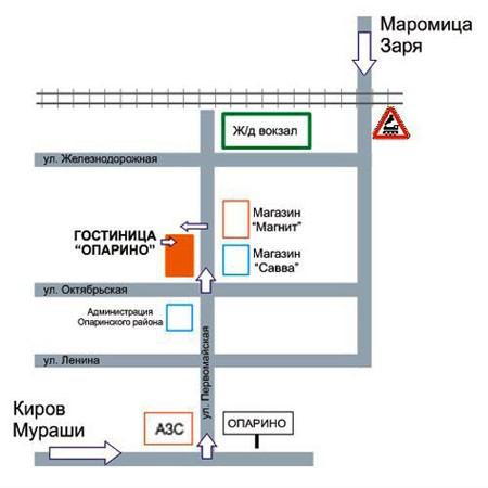 Схема проезда к гостинице