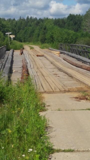 Ремонт моста через речку Молома