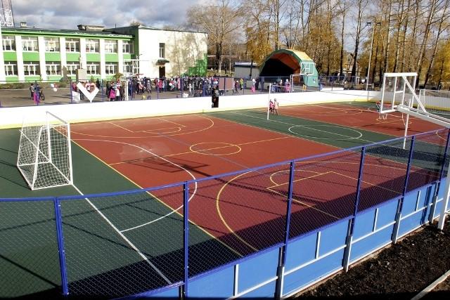 Открытие универсальной спортивной площадки в Опарино