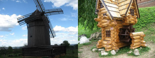 На снимке: ветряная мельница в этнографическом музее города Козьмодемьянска и макет водяной мельницы в экспозиции Новогородского кремля.