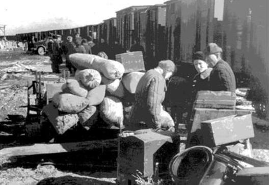 Погрузка переселенцев в вагоны